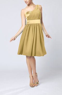 Gold Modern A-line One Shoulder Sleeveless Chiffon Bridesmaid Dresses