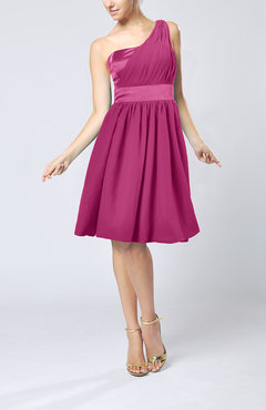 Hot Pink Modern A-line One Shoulder Sleeveless Chiffon Bridesmaid Dresses
