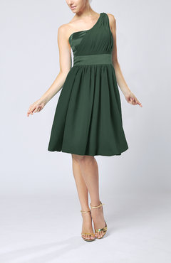 Hunter Green Modern A-line One Shoulder Sleeveless Chiffon Bridesmaid Dresses