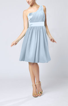 Ice Blue Modern A-line One Shoulder Sleeveless Chiffon Bridesmaid Dresses