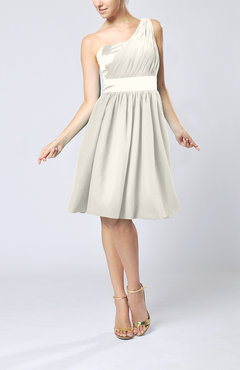 Ivory Modern A-line One Shoulder Sleeveless Chiffon Bridesmaid Dresses
