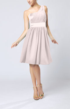 Light Pink Modern A-line One Shoulder Sleeveless Chiffon Bridesmaid Dresses