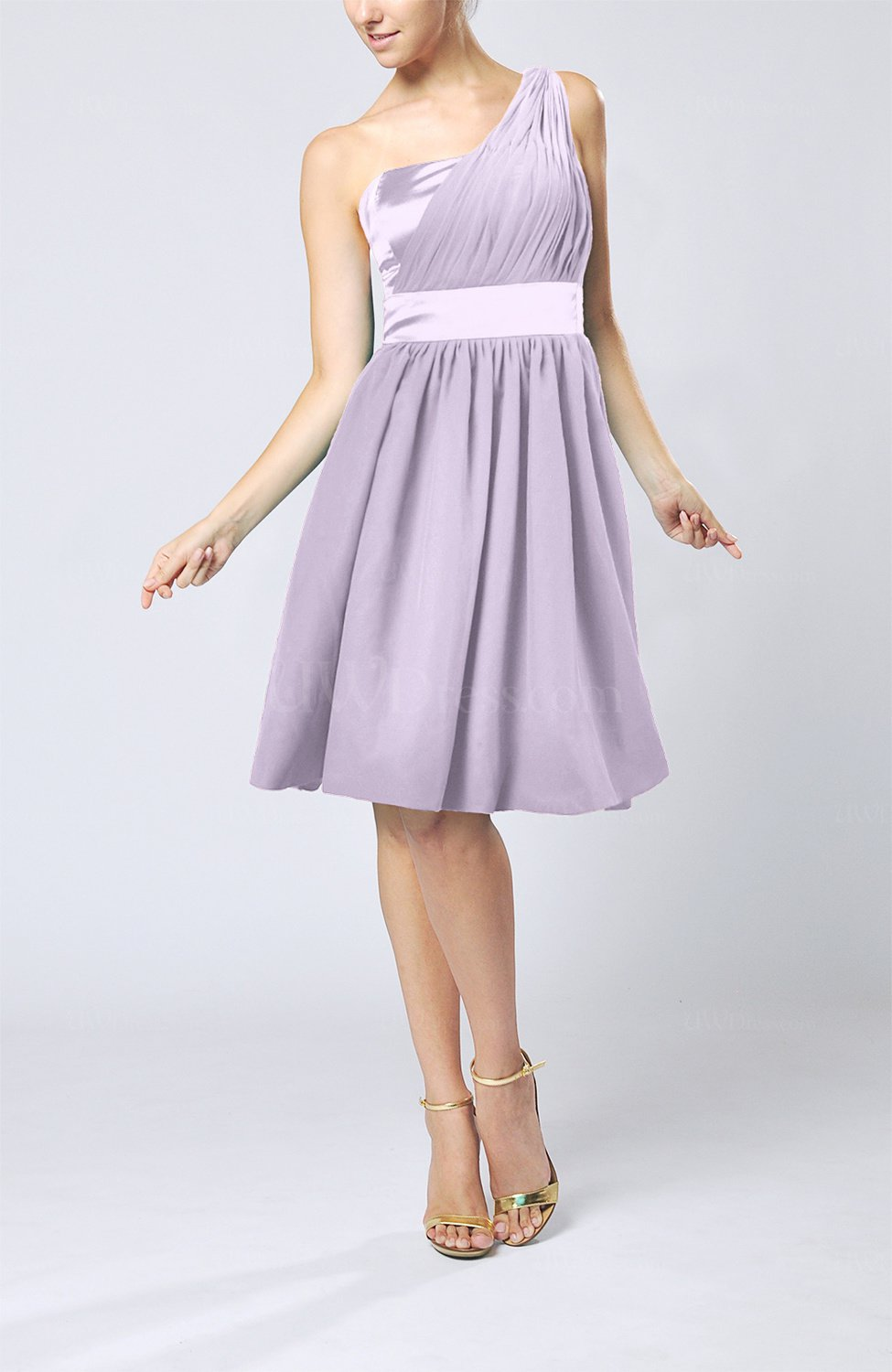 Light Purple Modern A-line One Shoulder Sleeveless Chiffon ...