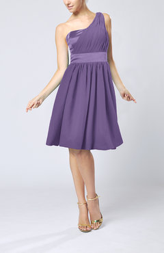 Lilac Modern A-line One Shoulder Sleeveless Chiffon Bridesmaid Dresses