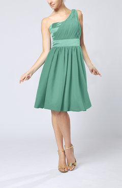 Mint Green Modern A-line One Shoulder Sleeveless Chiffon Bridesmaid Dresses