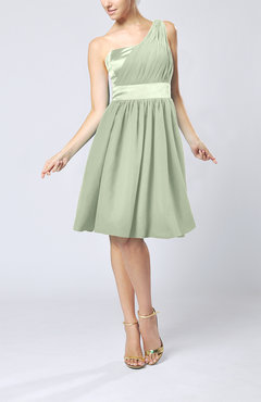 Pale Green Modern A-line One Shoulder Sleeveless Chiffon Bridesmaid Dresses