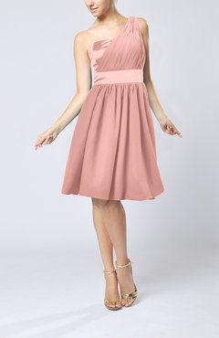 Peach Modern A-line One Shoulder Sleeveless Chiffon Bridesmaid Dresses