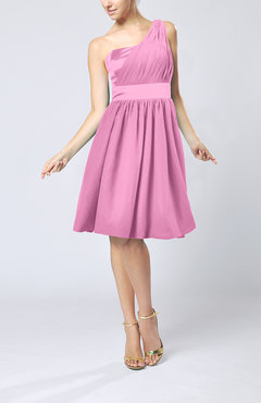 Pink Modern A-line One Shoulder Sleeveless Chiffon Bridesmaid Dresses