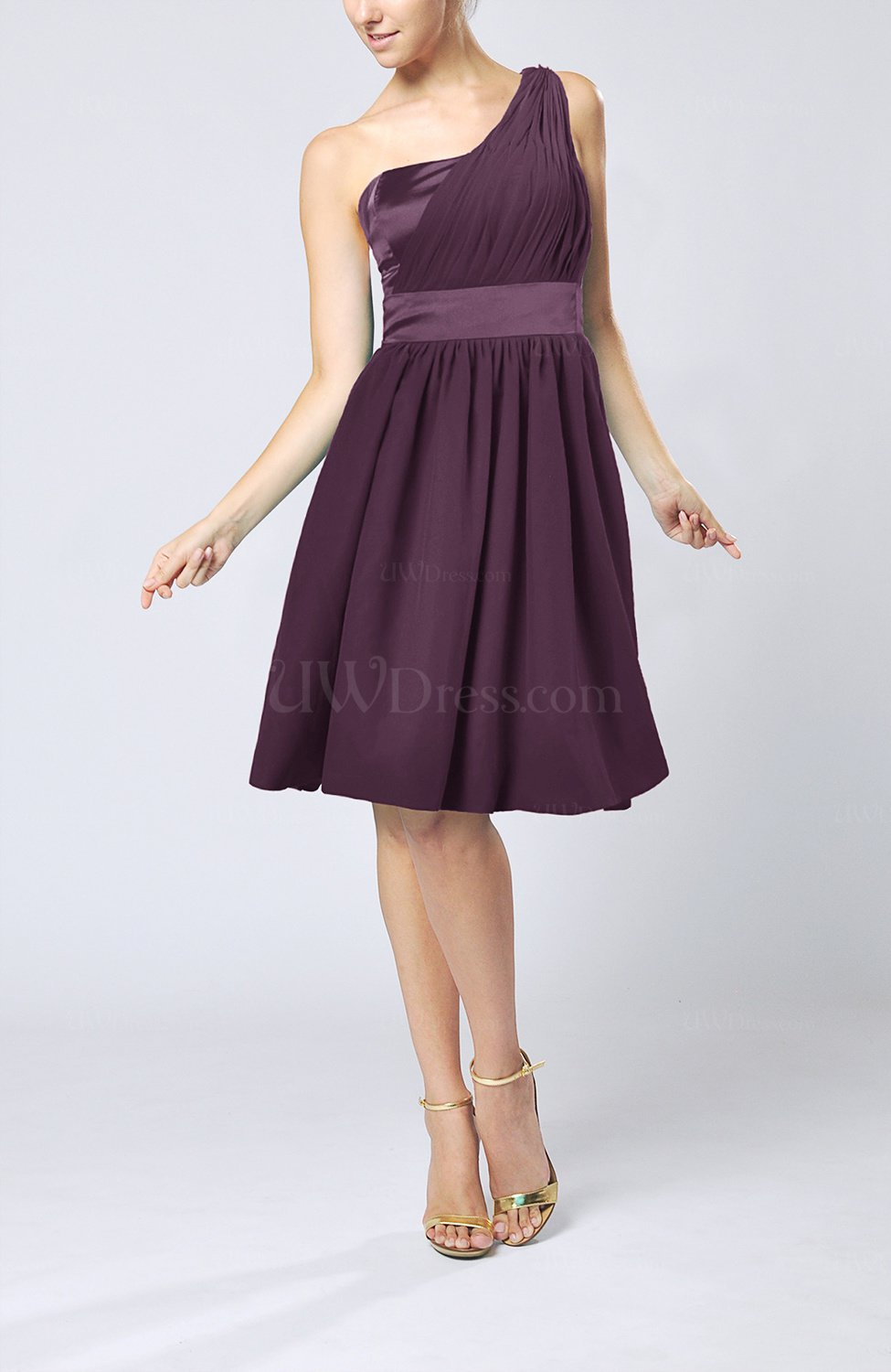 Plum Modern A-line One Shoulder Sleeveless Chiffon ...