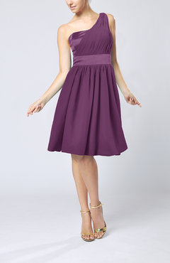 Raspberry Modern A-line One Shoulder Sleeveless Chiffon Bridesmaid Dresses