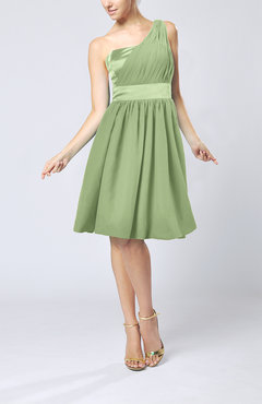 Sage Green Modern A-line One Shoulder Sleeveless Chiffon Bridesmaid Dresses