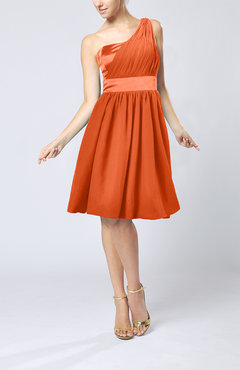 Tangerine Modern A-line One Shoulder Sleeveless Chiffon Bridesmaid Dresses