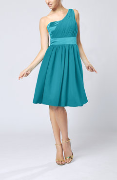 Teal Modern A-line One Shoulder Sleeveless Chiffon Bridesmaid Dresses