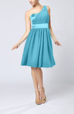 Turquoise Modern A-line One Shoulder Sleeveless Chiffon Bridesmaid Dresses