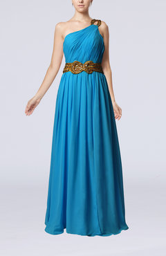 Cornflower Blue Elegant Sleeveless Zip up Chiffon Floor Length Ruching Prom Dresses