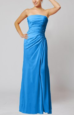 Cornflower Blue Elegant Sheath Sleeveless Zip up Floor Length Bridesmaid Dresses
