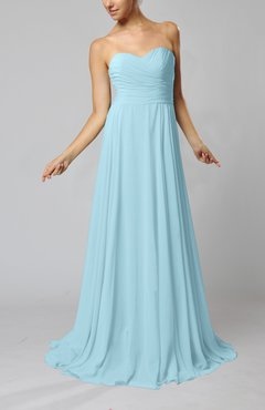 Aqua Simple Sheath Sweetheart Zip up Sweep Train Ruching Wedding Guest Dresses