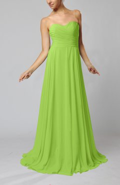 Bright Green Simple Sheath Sweetheart Zip up Sweep Train Ruching Wedding Guest Dresses