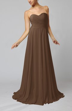 Brown Simple Sheath Sweetheart Zip up Sweep Train Ruching Wedding Guest Dresses