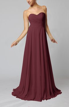 Burgundy Simple Sheath Sweetheart Zip up Sweep Train Ruching Wedding Guest Dresses
