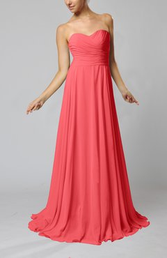 Coral Simple Sheath Sweetheart Zip up Sweep Train Ruching Wedding Guest Dresses