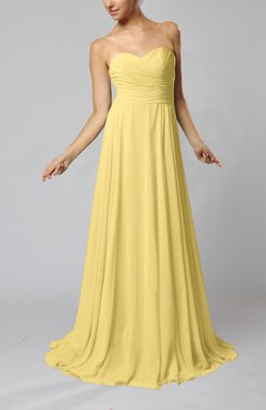 Daffodil Simple Sheath Sweetheart Zip Up Sweep Train Ruching Wedding Guest Dresses