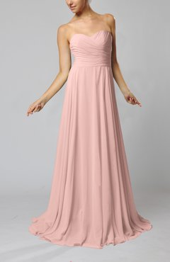 Dusty Rose Simple Sheath Sweetheart Zip up Sweep Train Ruching Wedding Guest Dresses