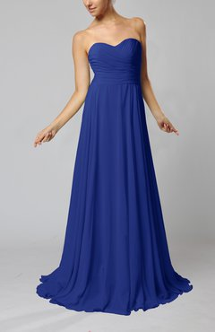 Electric Blue Simple Sheath Sweetheart Zip up Sweep Train Ruching Wedding Guest Dresses