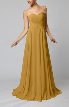 Gold Simple Sheath Sweetheart Zip up Sweep Train Ruching Wedding Guest Dresses