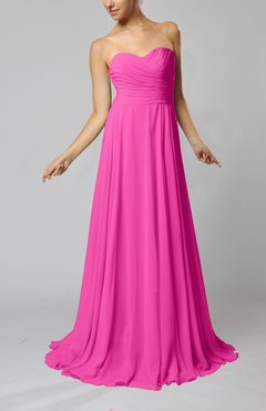 Hot Pink Simple Sheath Sweetheart Zip up Sweep Train Ruching Wedding Guest Dresses