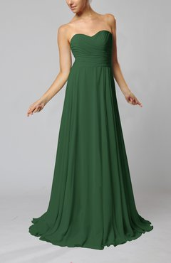 Hunter Green Simple Sheath Sweetheart Zip up Sweep Train Ruching Wedding Guest Dresses