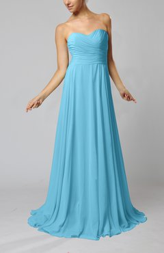 Light Blue Simple Sheath Sweetheart Zip up Sweep Train Ruching Wedding Guest Dresses