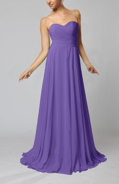 Lilac Simple Sheath Sweetheart Zip up Sweep Train Ruching Wedding Guest Dresses