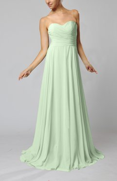 Pale Green Simple Sheath Sweetheart Zip up Sweep Train Ruching Wedding Guest Dresses