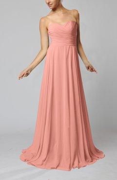 Peach Simple Sheath Sweetheart Zip Up Sweep Train Ruching Wedding Guest Dresses