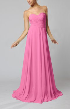 Pink Simple Sheath Sweetheart Zip up Sweep Train Ruching Wedding Guest Dresses