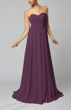 Plum Simple Sheath Sweetheart Zip up Sweep Train Ruching Wedding Guest Dresses