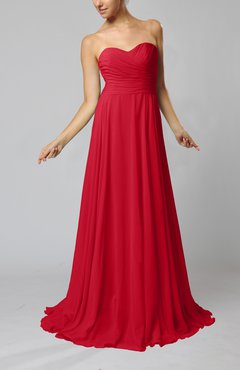 Red Simple Sheath Sweetheart Zip up Sweep Train Ruching Wedding Guest Dresses