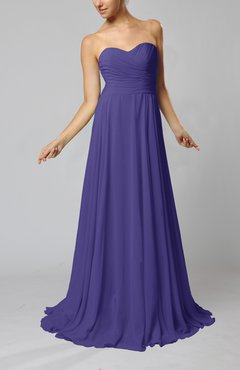 Royal Purple Simple Sheath Sweetheart Zip up Sweep Train Ruching Wedding Guest Dresses