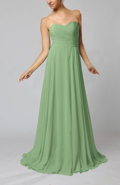 Sage Green Simple Sheath Sweetheart Zip up Sweep Train Ruching Wedding Guest Dresses