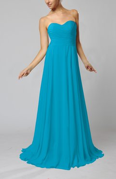 Teal Simple Sheath Sweetheart Zip up Sweep Train Ruching Wedding Guest Dresses