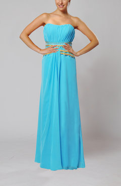 Light Blue Elegant Empire Strapless Chiffon Floor Length Evening Dresses