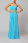 Elegant Empire Strapless Chiffon Floor Length Evening Dresses