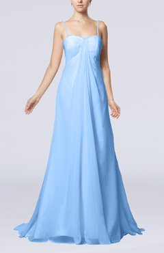 Light Blue Elegant Destination Empire Sleeveless Backless Chiffon Sweep Train Bridal Gowns