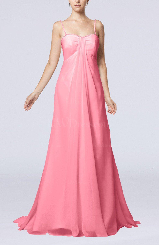 Pink Elegant Destination Empire Sleeveless Backless Chiffon Sweep ...