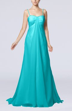 Teal Elegant Destination Empire Sleeveless Backless Chiffon Sweep Train Bridal Gowns