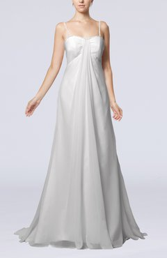 White Elegant Destination Empire Sleeveless Backless Chiffon Sweep Train Bridal Gowns