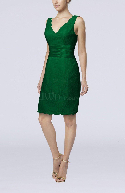 Green Casual V Neck Sleeveless Backless Knee Length