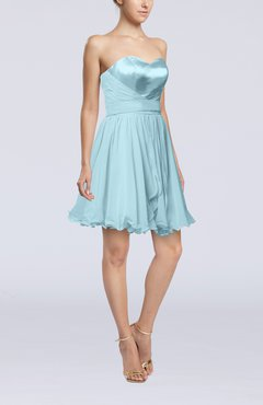 Aqua Sexy A-line Zip up Mini Ribbon Graduation Dresses