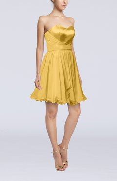 Gold Sexy A-line Zip up Mini Ribbon Graduation Dresses